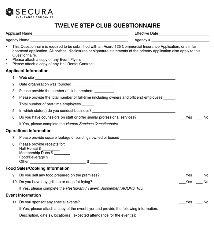 Secura Twelve Step Club Questionnaire